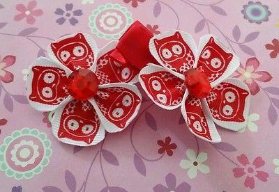 Girls 2 owl ribbon  hair accessories  hair clips alligator  clips