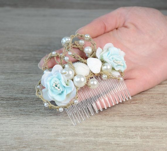 Strand bruiloft Light Blue flower Bridal zee schelpen kam