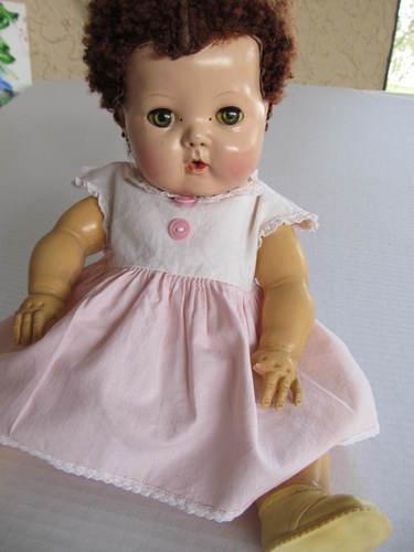 American Character Tiny Tears Doll Caracul Wig Cute Face