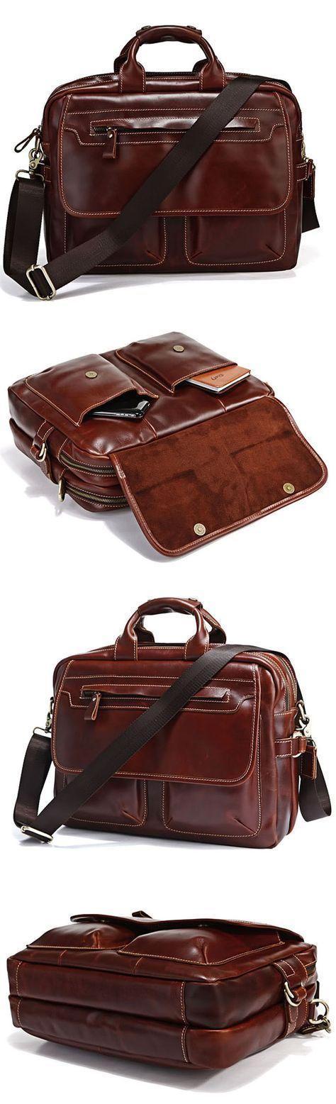 "Handmade Genuine Leather Briefcase Messenger Bag 14"" Laptop 15"" MacBook Bag Travel Bag in Red Brown"