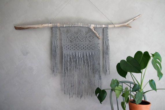 "Macramé Wall Hanging ""Adah"" - ByHelgaM on Etsy / Macrame / Makrame / Makramé / Macramee / Handmade Decor / Boho Deco / Bohemian / Scandinavian / Wall Art / Wallhanging / Wallhanger / Väggbonad / Wall Decor / Monstera / Monstera Deliciosa / Plant / Kalklitir / Winter Primo"