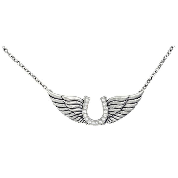 Montana Silversmith Cowgirl Spirit Horseshoe and Angel Wings Necklace [NC1286CZ]