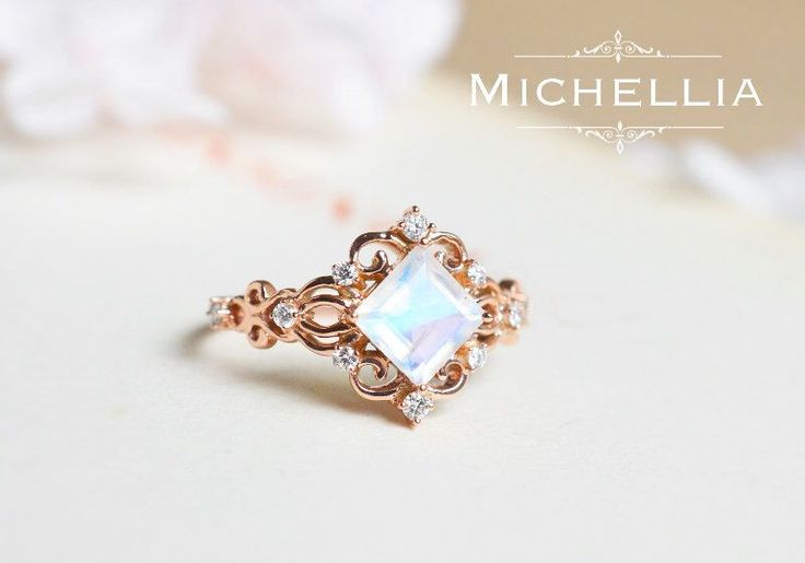 "14K/18K ""Elsa"" Princess Cut Moonstone Ring, Rose Gold Moonstone Engagement Ring, Vintage Rainbow Moonstone Ring, Mother's Day Gift For Her by MichelliaDesigns on Etsy https://www.etsy.com/listing/273835034/14k18k-elsa-princess-cut-moonstone-ring"