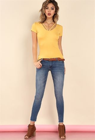 Ashley Mid-Rise Raw-Hem Skinny Jeans