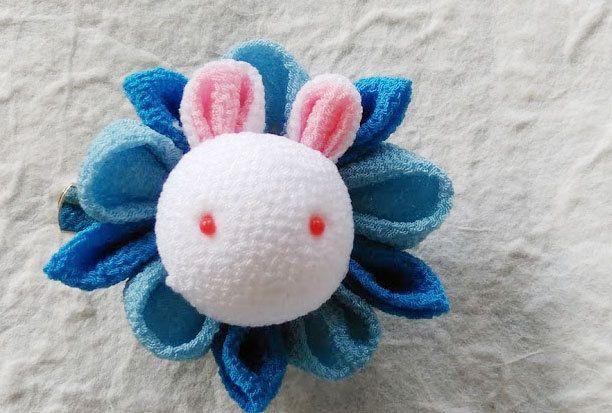 Tsumami zaiku Kanzashi flower brooch and hair clip  Bunny(Blue) by chirimenbunny on Etsy