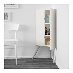IKEA - IKEA PS 2014, Corner cabinet, white/gray, , Takes little space but gives plenty of practical storage as this cabinet fits snugly in tight corners.The cabinet can be mounted on the wall or used with the legs.Adjustable shelves can be arranged according to your needs.