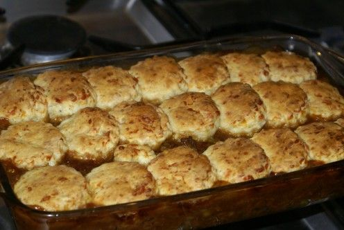 Warming English Winter Beef Cobbler and easy Biscuits/Savory Scone Recipe