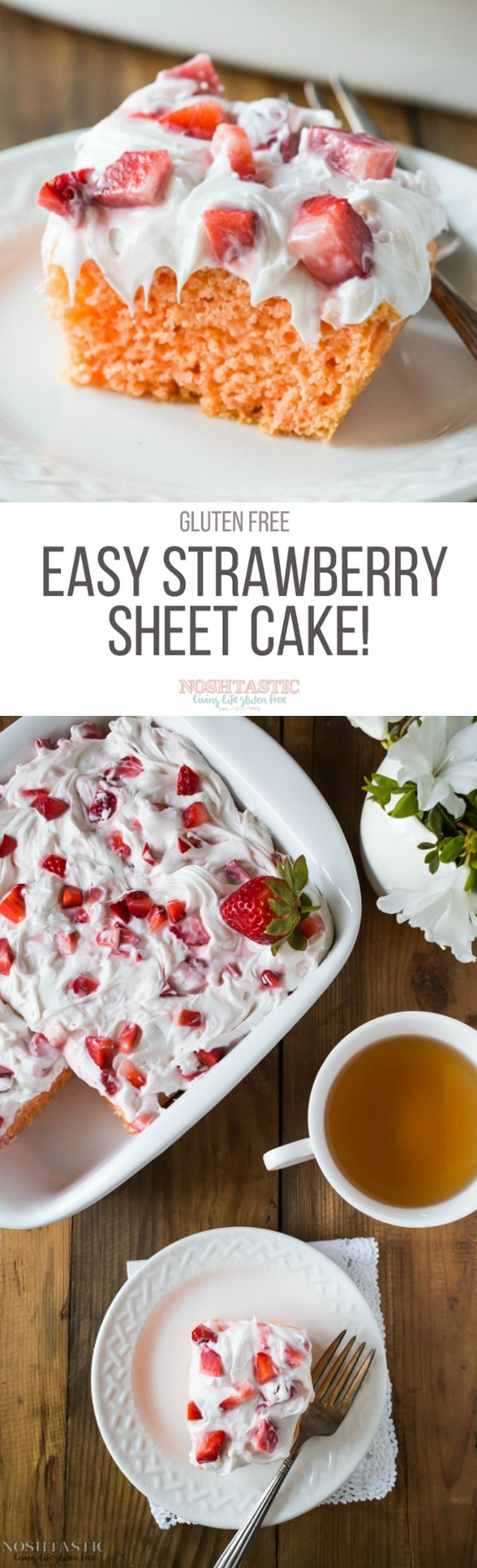 You can whip up this beautiful Gluten Free Strawberry Cake in an instant with a box of gluten free Yellow cake mix and ready made marshmallow frosting, so easy!!  | Sponsored by The  J.M. Smucker Company  #mixupamoment