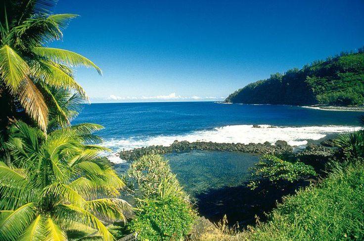 Manapany, a natural sea-pond, Reunion Island (Indian Ocean)