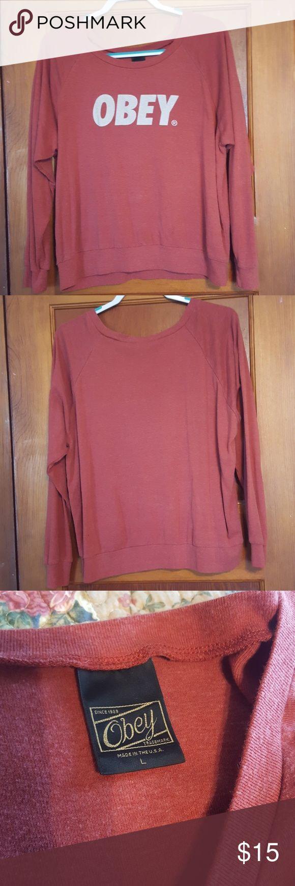 Obey Sweatshirt Obey Sweatshirt, size large, has a very worn look Obey Tops Sweatshirts & Hoodies