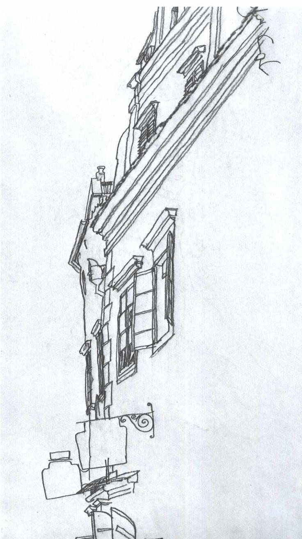 Old houses in krumau alte giebelhäuser in krumau egon schiele simple line drawingsdrawing