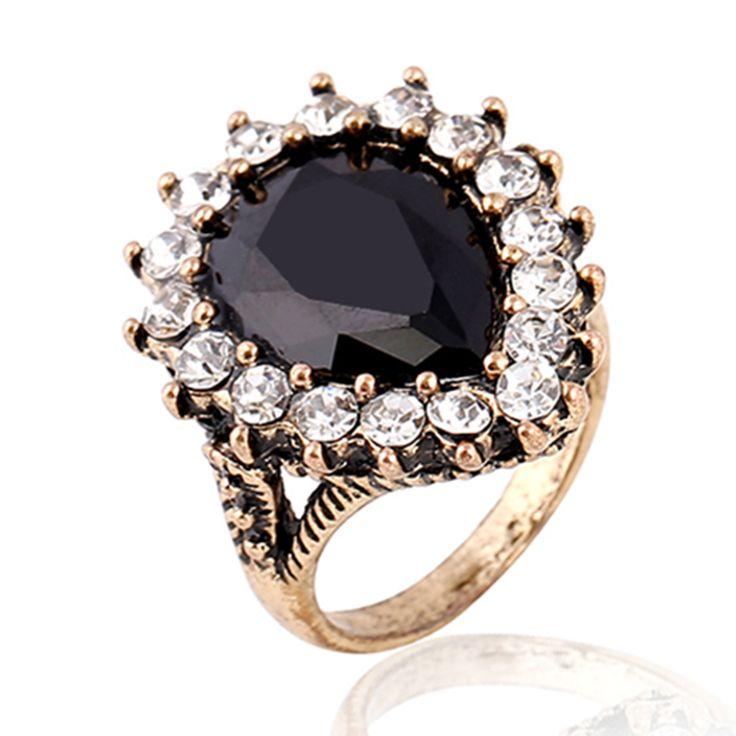 Black CZ Diamond Ring Water Drop Party Rings For Women  Big Stone Ruby Jewelry Women Rings Bijoux Femme Vintage Rings HJ7650