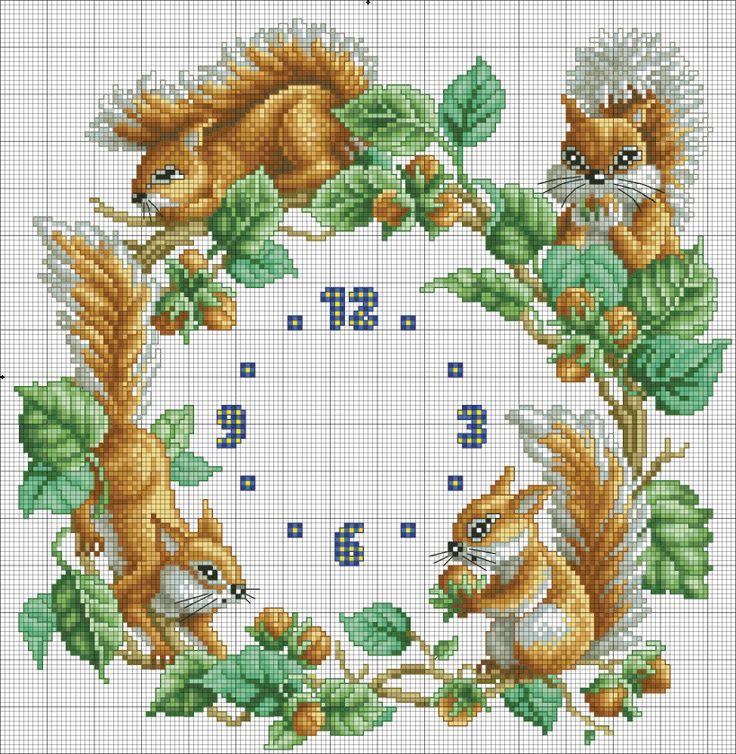 Squirrels Cross-stich Clock Face