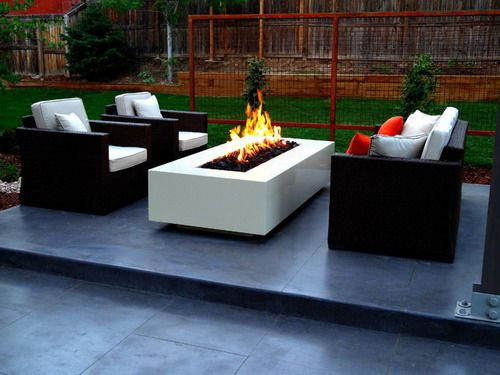 Modern Concrete Fire Pit Smooth Finish Concrete Patio Contemporary Backyard  Ideas