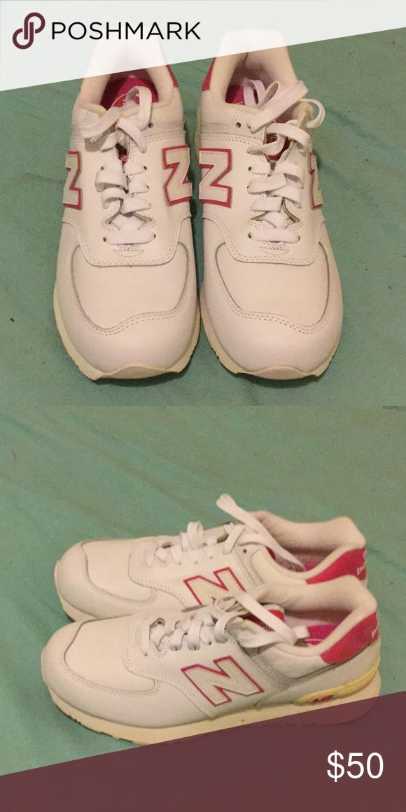 New Balance 574 White and Pink Leather in Size 9 New Balance 574 White and Pink Leather in Size 9 New Balance Shoes Sneakers