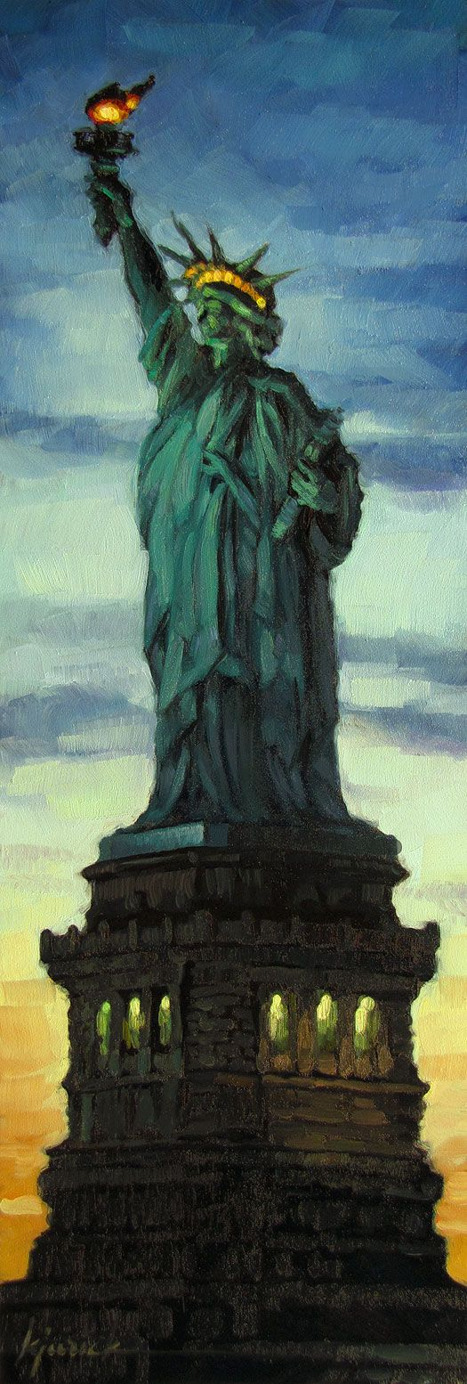"""The Statue of Liberty in New York City's Upper New York Bay on Liberty Island, Designer: Frédéric Bartholdi - """"Give me your tired, your poor, your huddled masses, yearning to breathe free, the wretched refuse of your teeming shore. Send these, the homeless, tempest tossed, to me. I lift my lamp beside the golden door."""" 