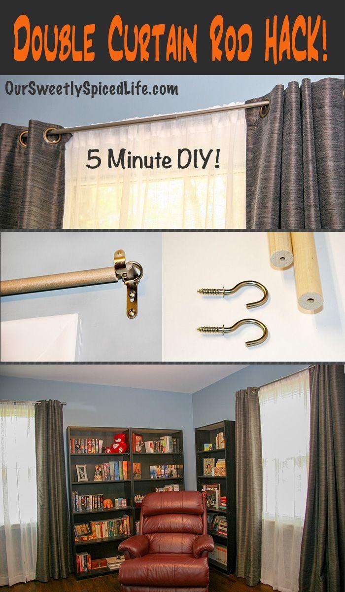 Double Curtain Rod Hack Easy Curtain Diy Double Rod Curtains Diy Curtains Double Curtains