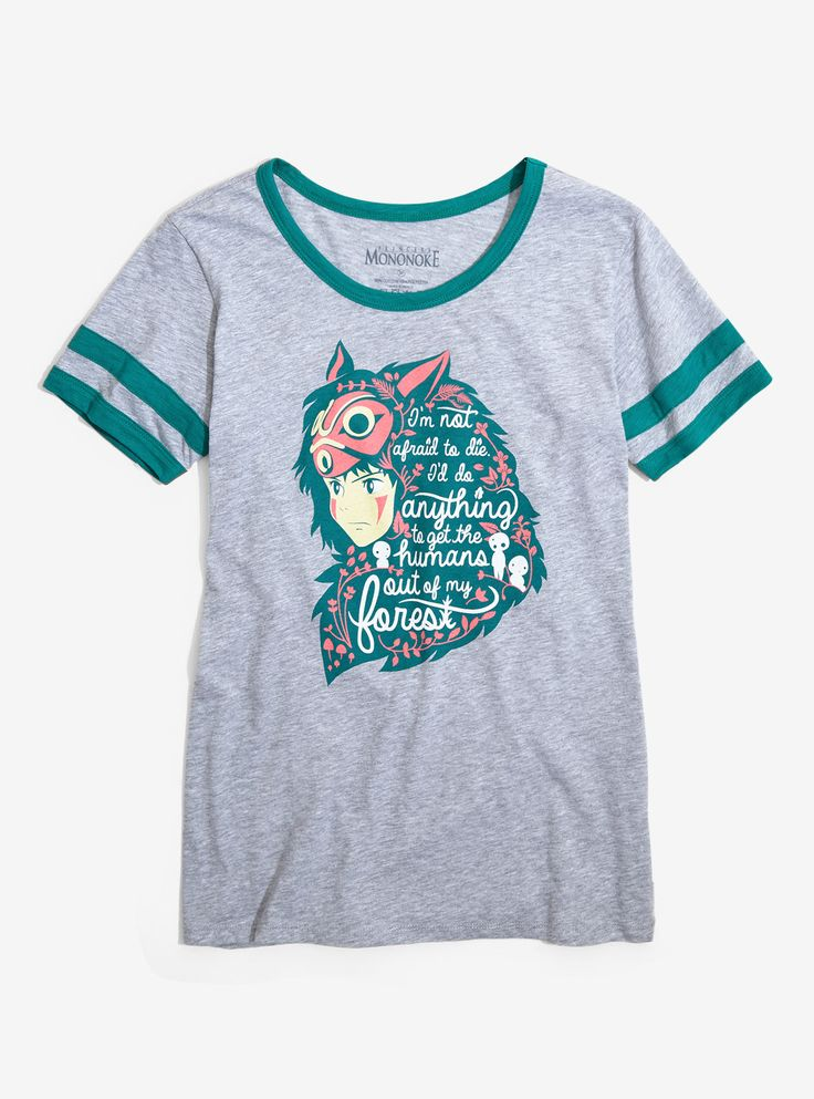 Become one with the forest and channel the fearlessness of San in this athletic tee from  Princess Mononoke ! This grey tee by Her Universe features a  San verbiage design and has green athletic style detailing.   100% cotton  Wash cold; dry low  Imported  Listed in women's sizes