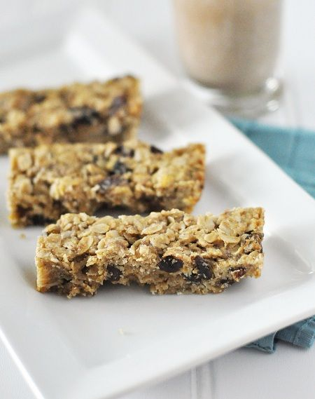 Oatmeal Rasin Bars-these are so healthy and delicious. I use applesauce instead of canola oil and add 3 TBSP of ground flaxseed.