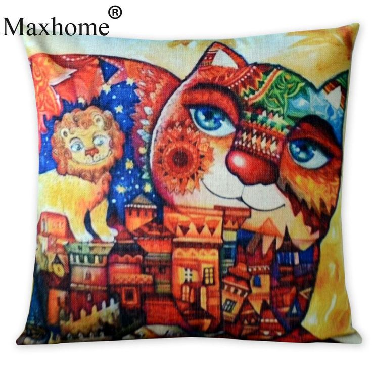 American Cartoon Cotton Linen Pillowcase Fat Cat Fairy Tale World Home Pillow Decoration Sofa Throw Pillows Home Decor 18 Inches #Affiliate