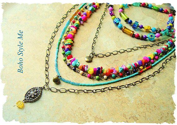 Collana stile boho colorato a strati Beaded gioielli Hippie