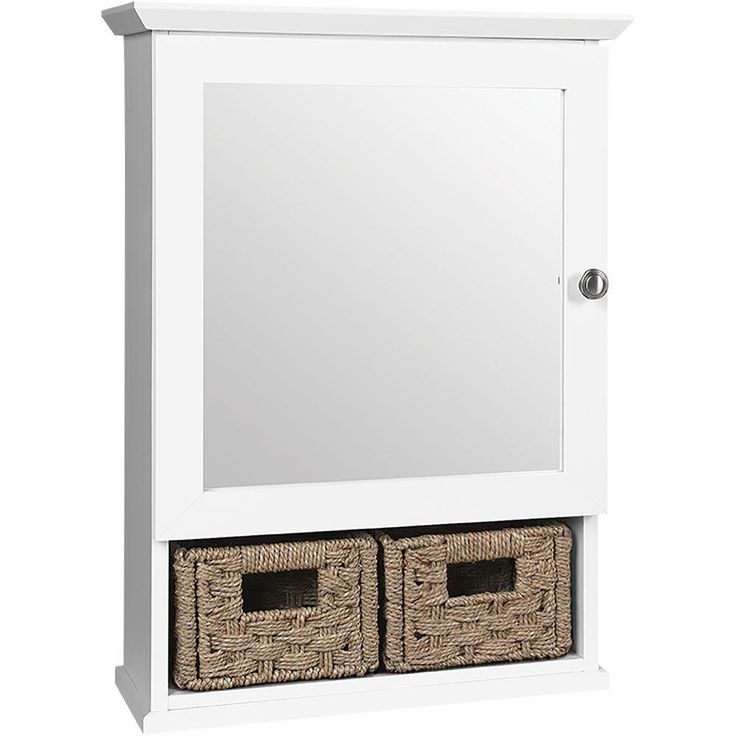 Glacier bay 19 3 4 in x 27 3 4 in framed surface mount - Bathroom storage cabinet with baskets ...