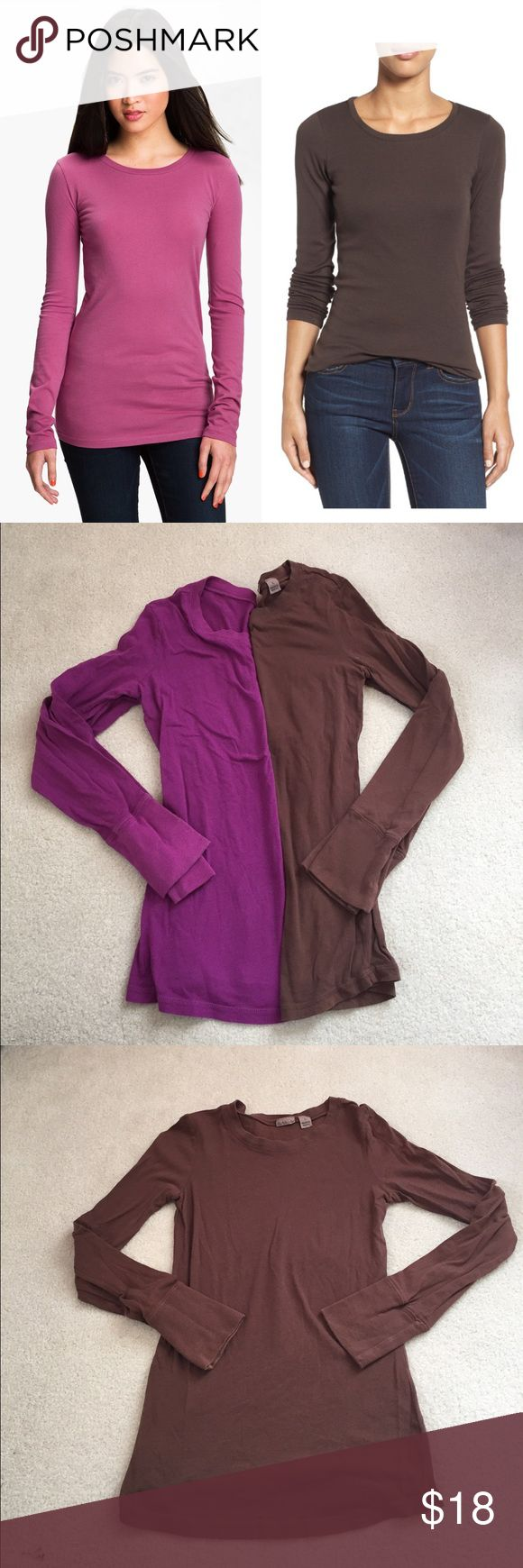 2 Bundled Rubbish Long Sleeve T-Shirts Brown and purple long sleeve t-shirts. Great condition! Super soft and excellent layering pieces ! Tops Tees - Long Sleeve