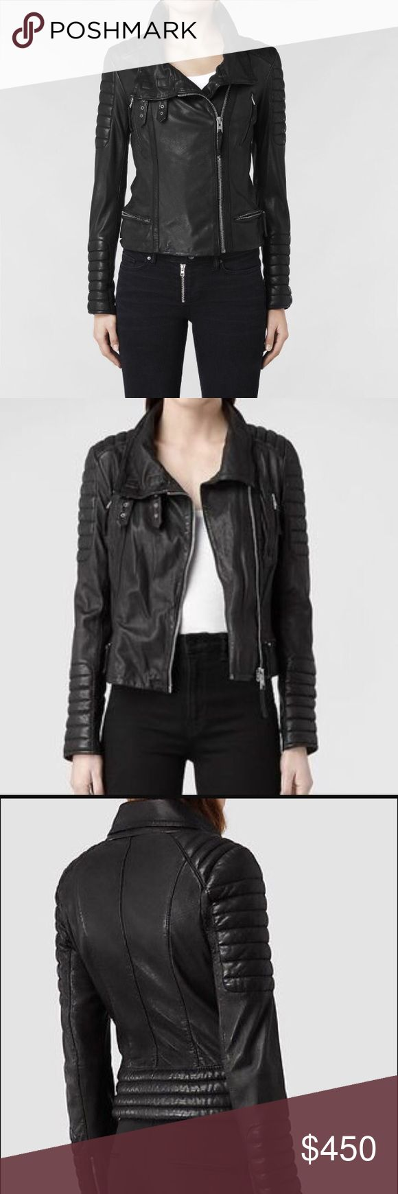 Allsaints Steine Biker size US8 Allsaints Steine Biker size US 8. Only worn twice, this jacket is in beautiful condition. No scratches or scuffs. This jacket has been seen on tons of celebrities and sold out quickly! All reasonable offers will be considered, please, no low ball offers or trades😉                            SHIPS SAME DAY!! Allsaints Jackets & Coats