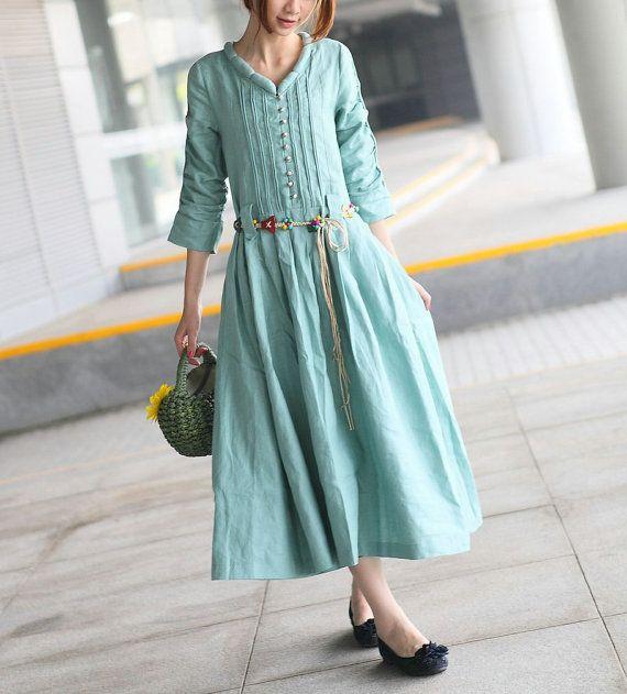 Custom Linen Dress / Maxi Bridesmaid Dress - Made by camelliatune, $73.00