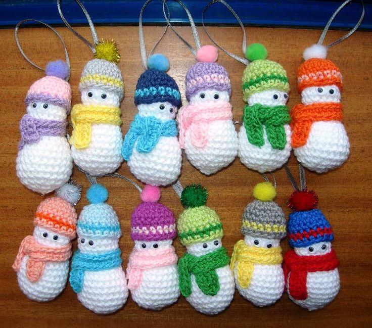 Adornos navide os para el arbol mu equitos de nieve decoraciones de navidad pinterest Adornos navidenos a crochet