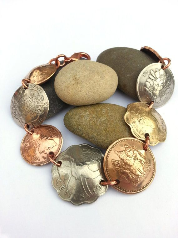 Domed copper and brass international coin by MyRustedRoots on Etsy, $26.00