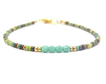 White Friendship Bracelet Blue Crystal Beads by MissCecesJewels