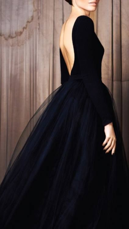 Long sleeved black dress; love open back, long sleeves and fit of top plus the long tulle skirt