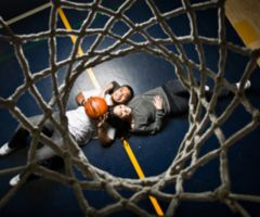 Basketball couple senior pictures! In love with this idea and if you don't want a couple picture, just do you laying under the net.