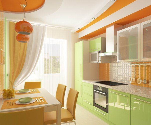 Green Orange kitchen  For the Home  Pinterest