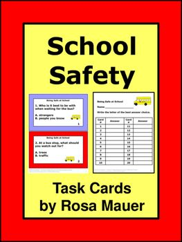 "Safety at school is the focus of these 20 multiple choice task cards. Use the cards with your own unit or to correspond with ""Being Safe at School"" by Susan Kesselring. A response form is provided for students and an answer key is given for the teacher."