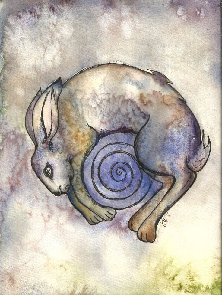 Water Hare - original watercolour painting A4 - 300gms paper- signed. Unique gift, ready to frame striking art with sea salt texturing. by WildHareHarps on Etsy