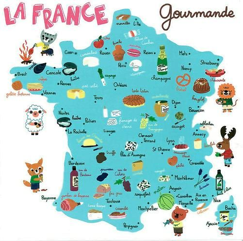 A map of France's regional foods Bordeaux- Wine Toulouse- Cassoulet (meat, pork skin, and white bean stew), foie gras (duck or goose liver) Paris - Champagne, brioche, macarons Marseille- Fish, seafood Rennes - Port salute cheese Grenoble- Saucisson chaud (pork sausages)