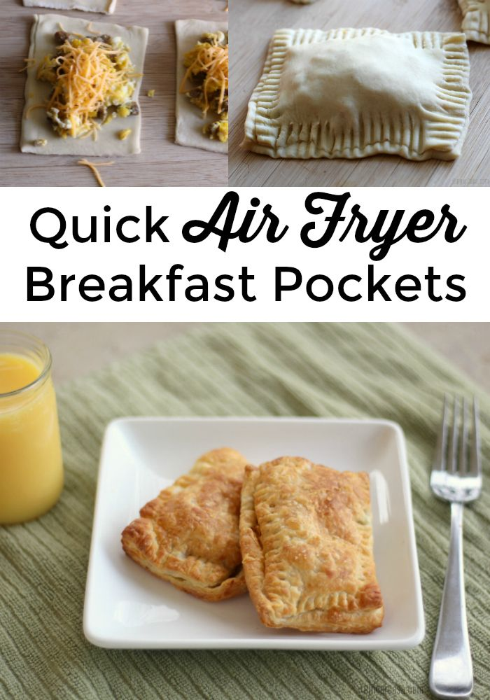 Need a new idea for a hot breakfast? Try this recipe for Air Fryer Breakfast Pockets - made in minutes in your air fryer!!