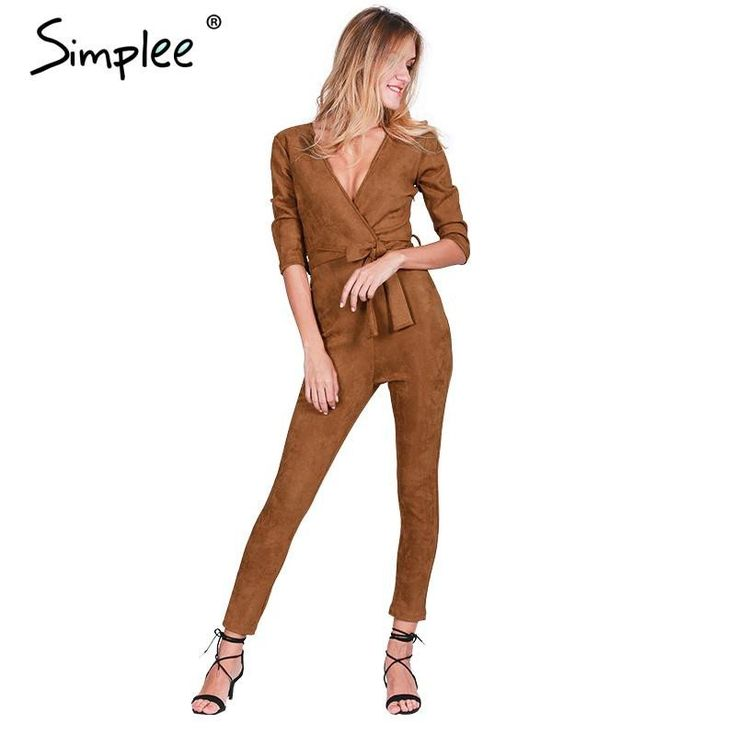Simplee Deep v neck suede belt bodycon jumpsuit romper Autumn fitness brown party women jumpsuit 2016 Casual fashion overalls