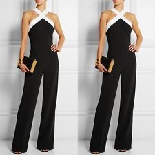 tuta elegante con pantaloni lungo vestito abito cerimonia da donna casual Nero