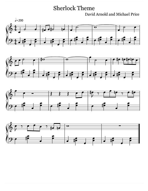 Free music for the Sherlock theme! Feel free to save it and learn it! :)