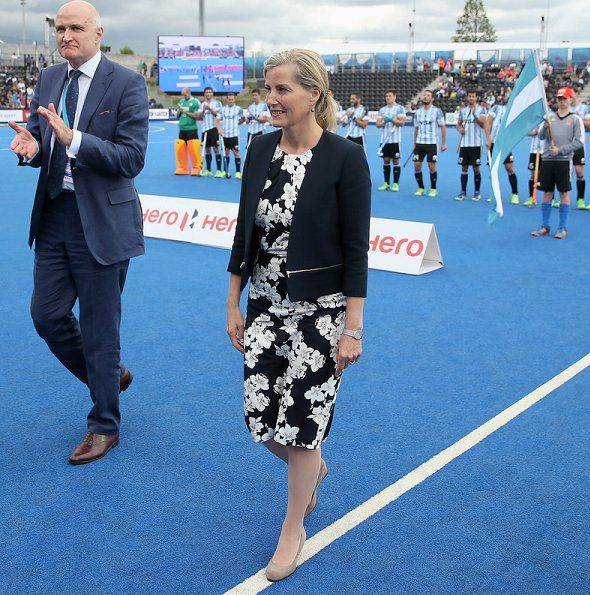 "Countess Sophie of Wessex watched Men's World Hockey League Semi Final match played between ""Argentina v The Netherlands"" and ""Malaysia v England"" at the Lee Valley Hockey and Tennis Centre in the Queen Elizabeth Olympic Park on June 25, 2017 in East London, England."