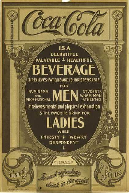 In 1886, when prohibition laws were passed in some locations, John Pemberton developed Coca-Cola --  Initially, he sold Coca-Cola as a patent medicine for 5 cents per glass near soda fountains; he claimed Coca-Cola could cure diseases like headache, morphine addiction, and impotence. Starting in 1894, Coca-Cola was starting to be sold in bottles