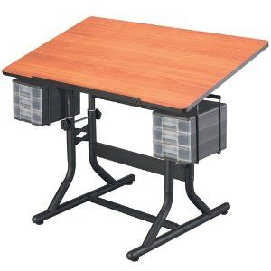 #4: CraftMaster Deluxe Drafting Table Cherry Woodgrain Top/Black Base.