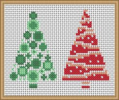 Funky Christmas Trees - PDF Cross Stitch Patterns - Instant Download