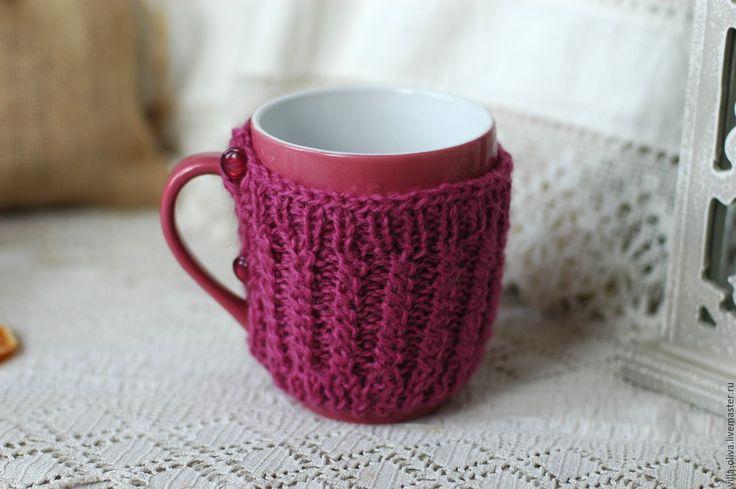 Купить Кружка в свитере Чай с малиновым вареньем - фуксия, кружка, кружка в подарок, кружка для чая