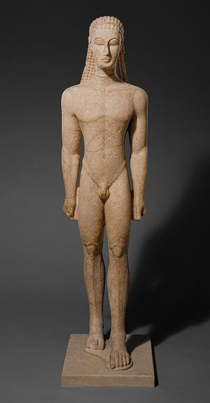 Statue of a kouros (youth), ca. 590–580 B.C.; Archaic, Greek, Attic, Naxian marble, H. without plinth 76 in. (193.04 cm)