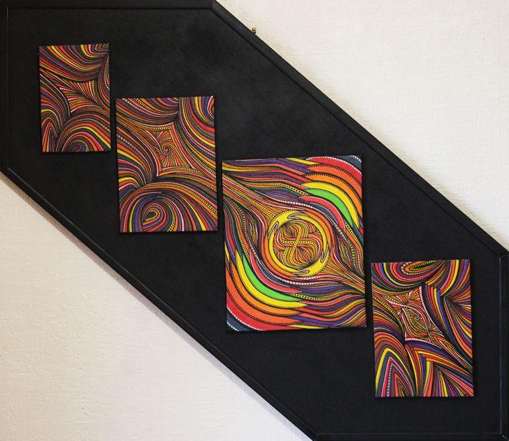 Titre : Quadriptyque. Tableau Réalisé au posca (style peinture acrylique) sur toile de coton tendue et agrafée sur cadre en bois plaqué ( Fabrication artisanal )  Formats :   19 cm x 12, 8 cm x 1 cm.  24 cm x 17,6 cm x 1 cm.  30,6 cm x 24,7 cm x 1 cm.  24,4 cm x 17,4 cm x 1 cm.  approximativement 60 h de réalisation. #quadriptyque #tableau #toile #art #œuvre #moderne #posca #peinture #abstrait #contemporain