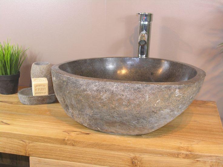 vasque poser en pierre naturelle galet de riviere 40 cm. Black Bedroom Furniture Sets. Home Design Ideas